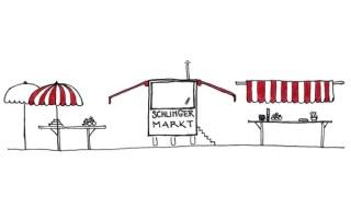 Zeichnung von Marktständen am Schlingermarkt