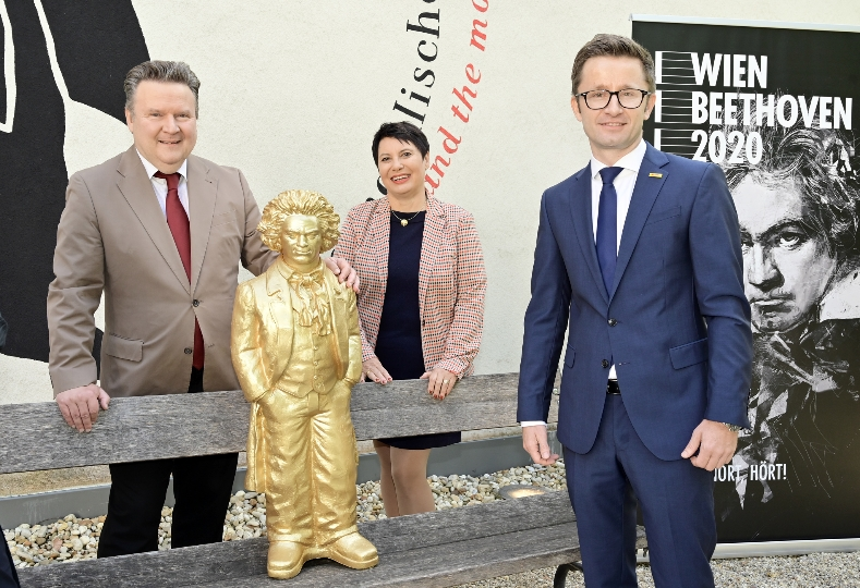Von links: Bürgermeister Michael Ludwig, Susanne Schicker, Koordinatorin WIENBEETHOVEN2020 und Christoph Wahl, Managing Director Austria, DHL Global Forwarding