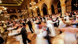 People dancing at a ball in Vienna City Hall