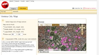 Embedding function of the wien.at online city map