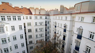 Inner courtyard of a residential building in Vienna