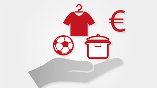 Illustration of a hand holding a ball, clothes, a pot and the Euro symbol