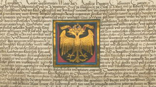 Medieval charter with golden double-headed eagle