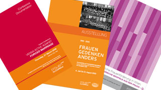 Covers of three brochures