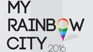 "Schrift auf wei�em Hintergrund/Writing on white background: ""My Rainbow City 2016"""