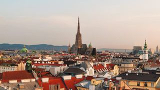 Panoramic view of Vienna with St. Stephen's Cathedral in background