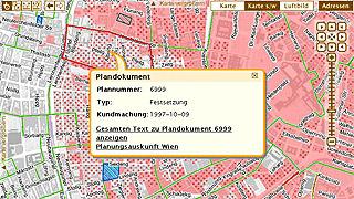 Ausschnitt aus dem Auskunftssystem Flächenwidmungs- und Bebauungsplan mit Infoblase zu einem Plandokument