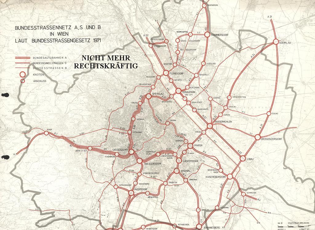 Bundesstraßennetz in Wien gemäß Bundesstraßengesetz 1971