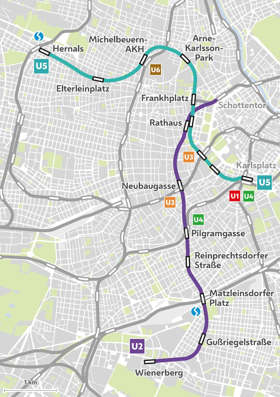 Bau Der U5 Und Verlängerung Der U2 In Wien Plan Stationen Und