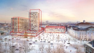 Rendering of the revised project area Vienna Ice-Skating Club/ InterContinental Hotel/ Vienna Konzerthaus; view in winter