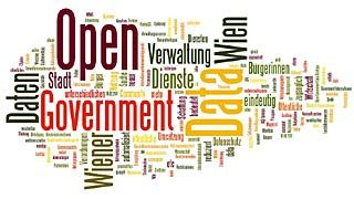 Tag cloud mit Worten aus dem Open Government Bereich