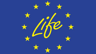 "Logo of the LIFE+ Programme of the European Union: The word ""Life"" in yellow, surrounded by yellow stars"