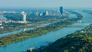 aerial view of the Danube und the Danube Island