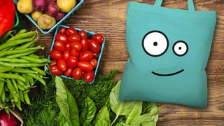 "mascot named ""Fairdl"" with vegetables"