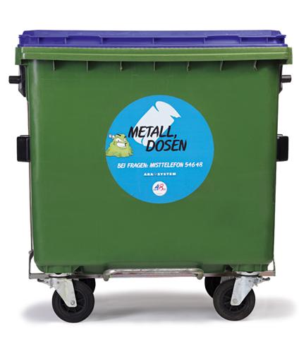Behälter zur sammlung von metallen und dosen mit einem