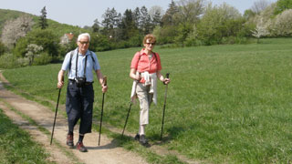 Two older hikers