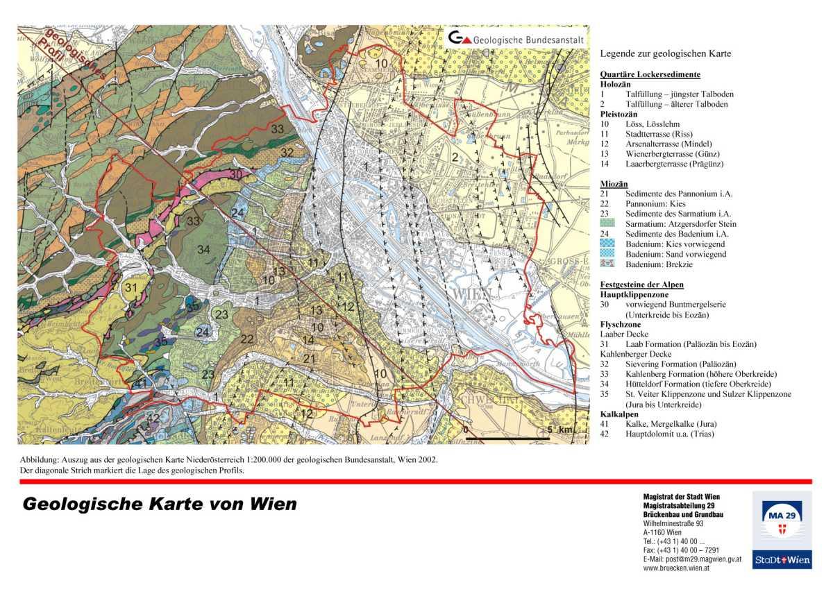 Karte Wien Niederosterreich.Die Geologie Von Wien