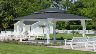 white pavillon with benches