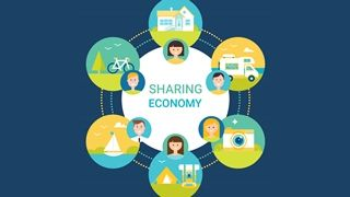 "bunte Grafik mit Text ""Sharing Economy"""